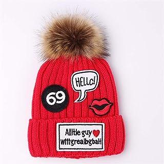 HUAIX Home Moda Nuova Patch Signore Inverno all'aperto Spessa Cappello Caldo a Maglia (Color : Pink)