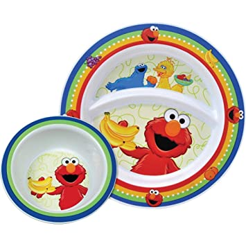 Munchkin Sesame Street Toddler Plate \u0026 Bowl 15162  sc 1 st  Amazon.com : toddler plate set - pezcame.com