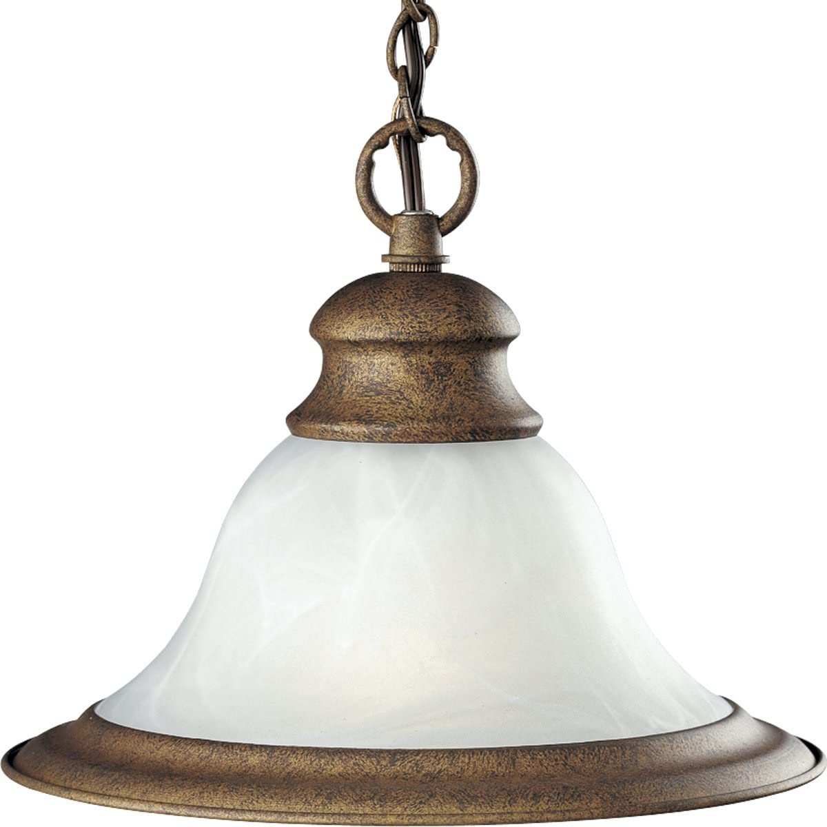 Progress Lighting P5050-27 One-Light Mini-Pendant with White Alabaster Glass, Golden Umber