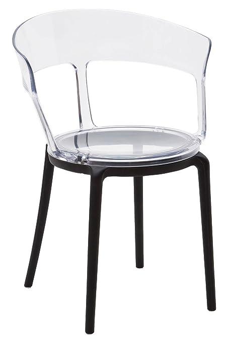 ARREDinITALY -Set 4 sedie plastica con seduta trasparente: Amazon.it ...