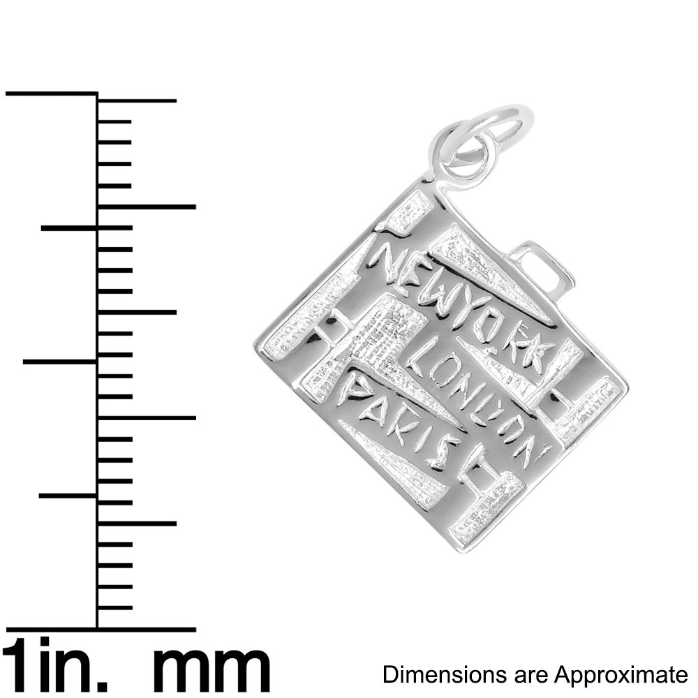 Sterling Silver Travel Luggage Charm Pendant (Approximately 18 x 18 mm) by K&C (Image #2)