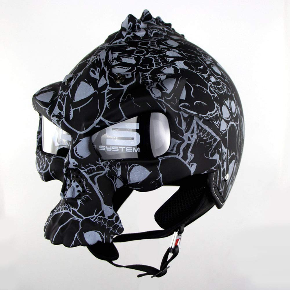 MMRLY Open Face Motorcycle Helmet,DOT Certified Motorbike Scooter Vintage Bike Helmet with Removable sun visor UV Protection Glasses,S
