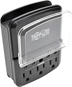 Tripp Lite 3 Outlet Portable Surge Protector Charging Station, 4 USB, & $10,000 INSURANCE (SK34USBB)