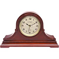 Vmarketingsite Mantel Clocks, Battery Operated, Silent Wood Table Clock with Westminster Chimes On The Hour, Solid…