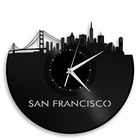 VinylShopUS – San Francisco Skyline Vinyl Record Wall Clock Cityscape Art Cool Unique Gift for Men Women Birthday Anniversary Room Home Room Office Decor