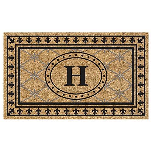 (Nedia Home Super Scraper Bungalow Vinyl Coir Doormat, Monogrammed H, 20 x 36