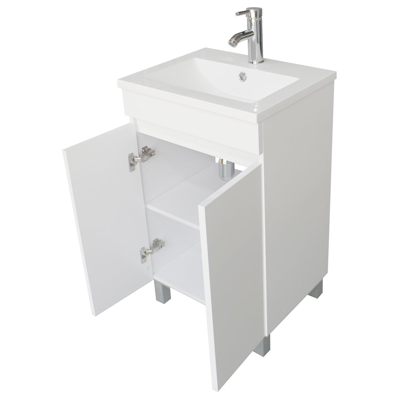 BATHJOY Modern White Single Wood Bathroom Vanity Cabinet with ...