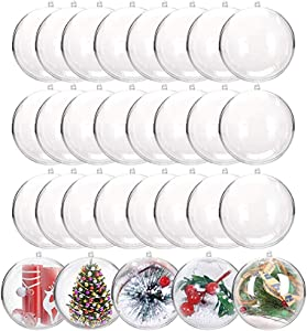 24 PCS Clear Fillable Ornaments Balls,DIY Plastic Acrylic Fillable Ball for Christmas,Bath Bombs,DIY Craft