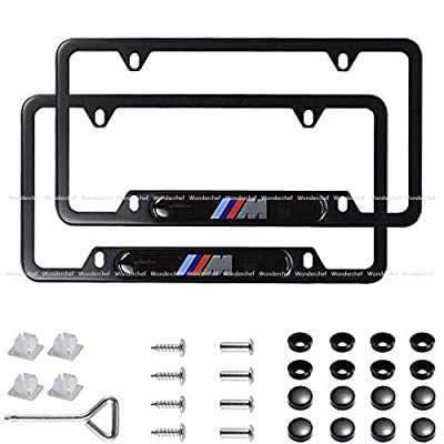 Wonderchef 2Pack M Logo Stainless Steel License Frame with for BMW,with Screw Caps Cover Set-Black (BMW-M): Automotive