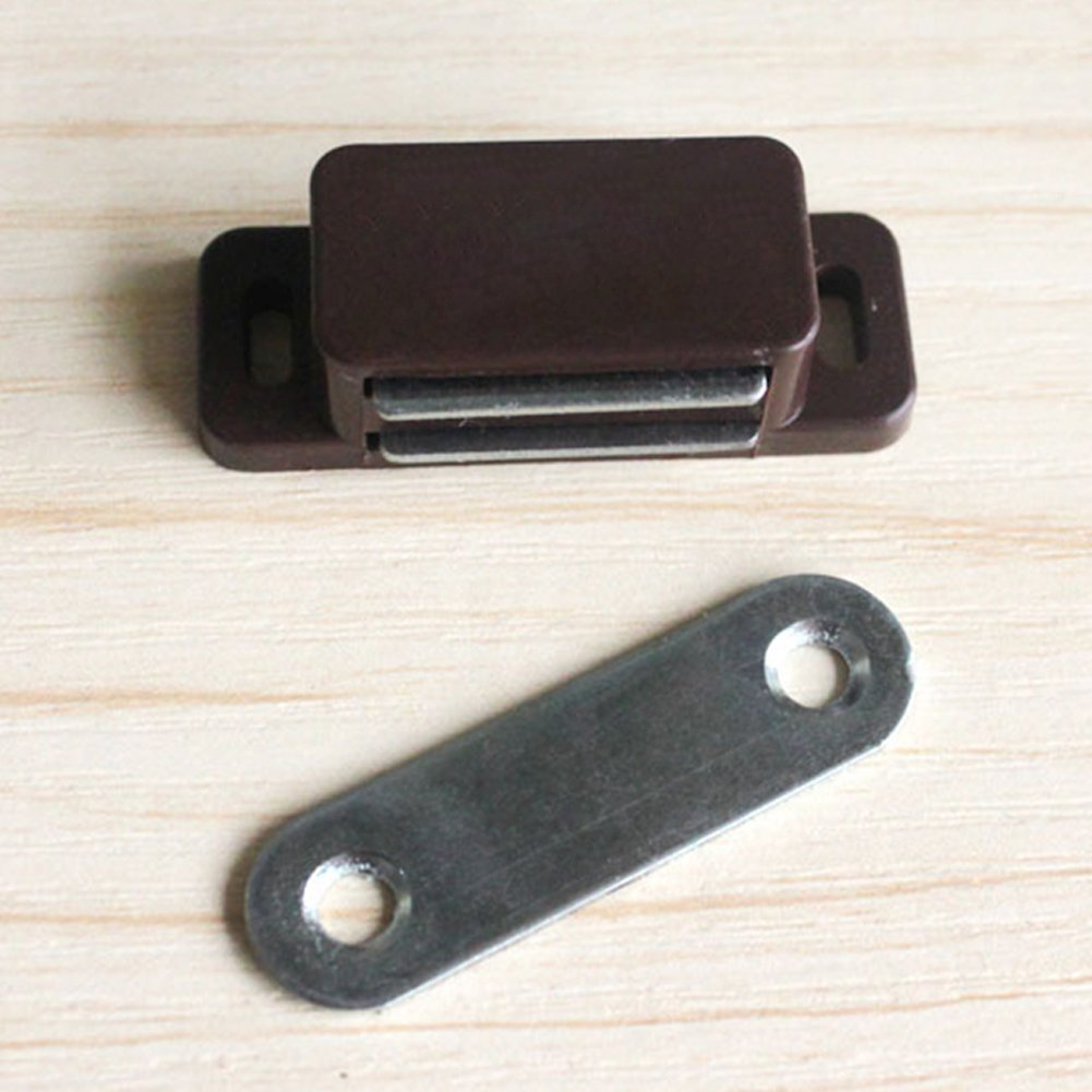 Magnetic Cupboard Cabinet Door Catches, with Single Plate,Cupboard Cabinet Plate Door Magnetic Catch Latch Locks Stopper (Brown)