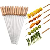 Johouse 48PCS Barbecue Skewers with Wooden Handle BBQ Stick Needles Marshmallow Roasting Sticks Outdoor Camping Outings…