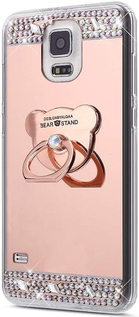 Kompatibel Mit Galaxy S5 Hülle Glitzer Strass Schutzhülle Weich Silikon Hülle Strass Diamant Spiegel Tpu Silikon Hülle Handyhülle Tasche Mit 360 Grad Ring Halter Für Galaxy S5 Rose Gold Baumarkt