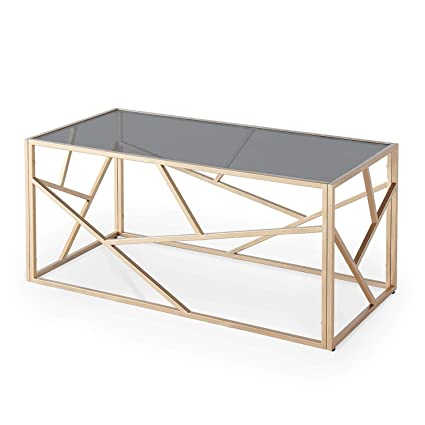 Decoinparis Table Basse Design En Verre Noir Et Métal Doré Rectangulaire Solal
