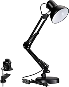 TORCHSTAR Metal Swing Arm Desk Lamp, Interchangeable Base Or Clamp, Classic Architect Clip On Study Table Lamp, Multi-Joint, Adjustable Arm, Black Finish