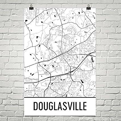 Carte Moderne Art Carte Douglasville, Douglasville Art, Impression Douglasville, Affiche Douglasville Géorgie, Art Mural Douglasville, Cadeaux, Carte de la Géorgie 24'x36' Affiche Douglasville Géorgie Carte de la Géorgie 24x36