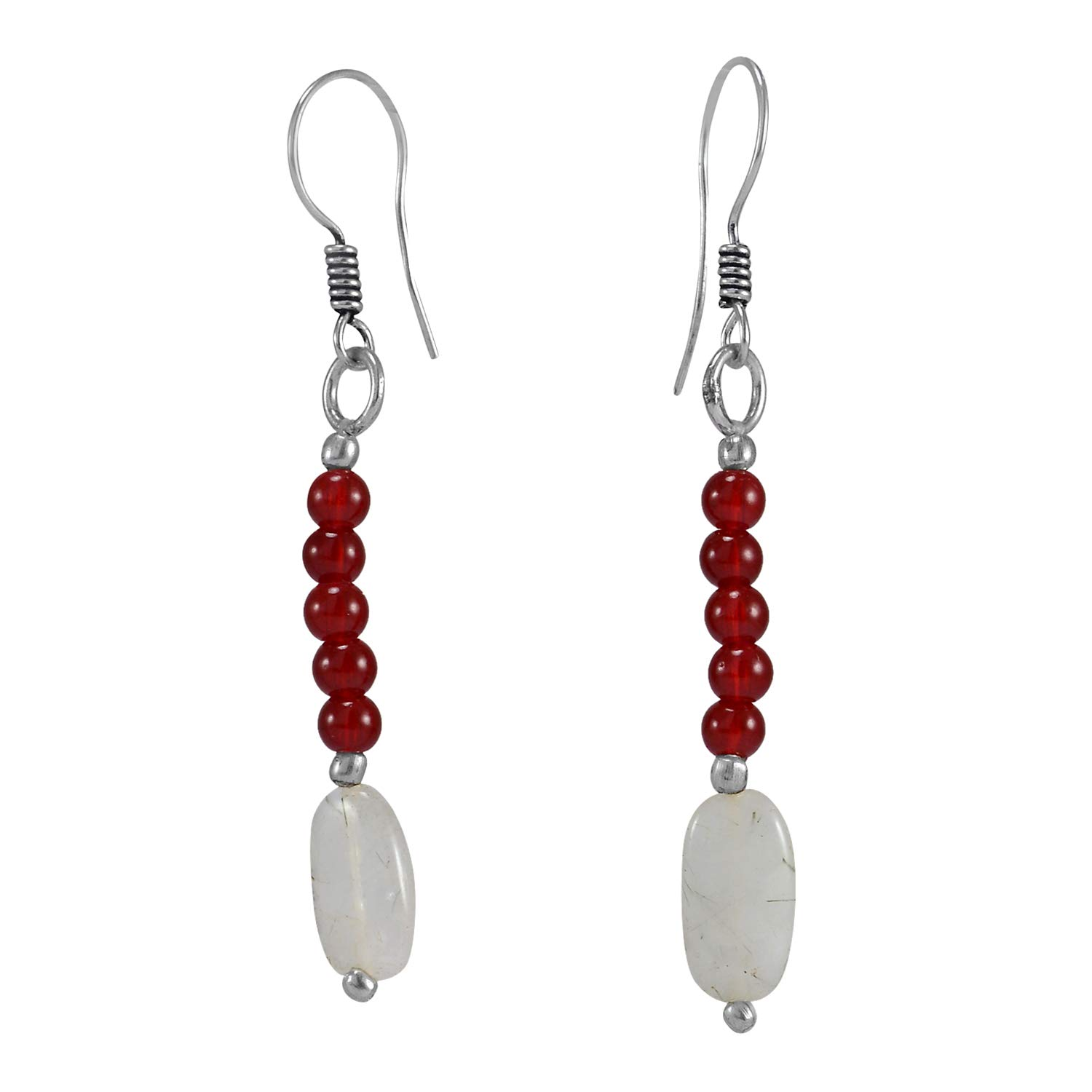 Handmade Jewelry Manufacturer 4mm Beads Round Red /& White Quartz Layering Dangle Earring Jaipur Rajasthan India 925 Silver Plated