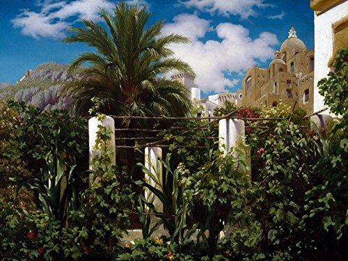 Garden of an Inn Capri landscape palm tree by Frederic Leighton Accent Tile Mural Kitchen Bathroom Wall Backsplash Behind Stove Range Sink Splashback One Tile 10