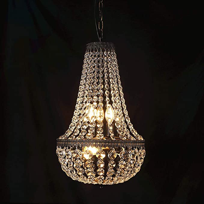 Wellmet 6 Lights French Empire Crystal Chandelier 13 Inch Farmhouse Pendant Chandeliers Lighting Adjustable Antique Bronze Ceiling Light Fixture For Dining Room Bedroom Foyer Living Room Amazon Ca Electronics