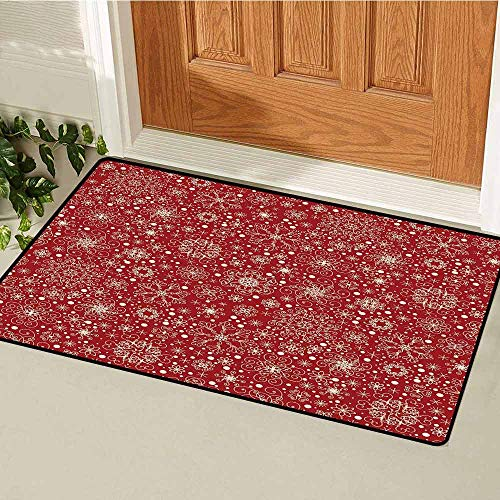 Gloria Johnson Red Welcome Door mat Filigree Style Snowflakes with Skinny Curl Details Cheerful Yuletide Inspiration in Art Door mat is odorless and Durable W19.7 x L31.5 Inch Red Beige