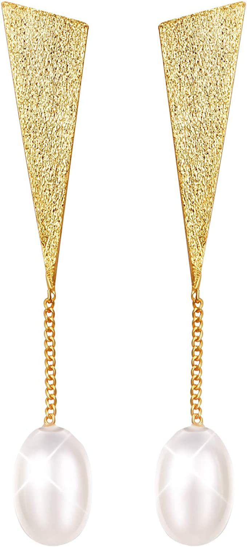 Lotus Fun S925 Pendientes de Plata de Ley con Perlas Naturales y Pendientes de Gota Triangulares Especiales para Mujeres y ni?as, joyer¨ªa ¨²nica Hecha a Mano