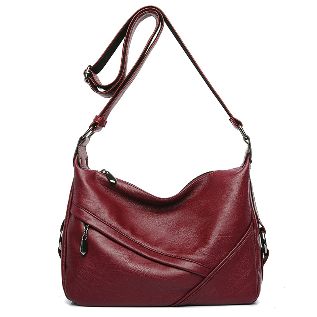 Women's Retro Casual Hobo Shoulder Bags Soft PU Leather Crossbody Bags for Women (red)