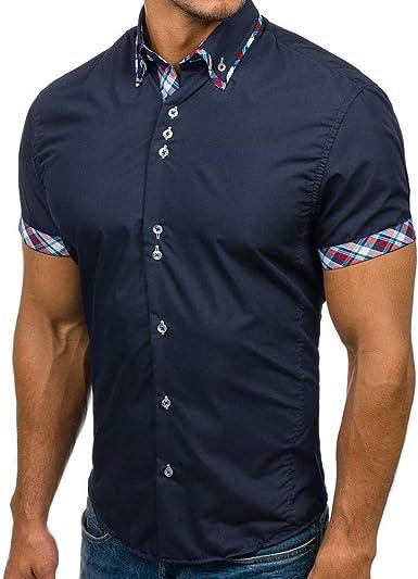 Camisas Hombre Manga Corta, YiYLunneo Camisa Vaquera de Vestir Hombre con Cuadros Camisa Slim Fit de Manga Corta con Cuello de Tira Hombre: Amazon.es: Ropa y accesorios