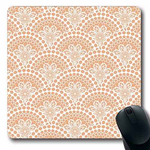Ahawoso Mousepad Oblong 7.9x9.8 Inches Wedding Beige Floral White Lace Pattern Vintage Modern Mesh Classic Veil Voile Mouse Pad Non-Slip Rubber for Notebook Laptop PC Computer ()