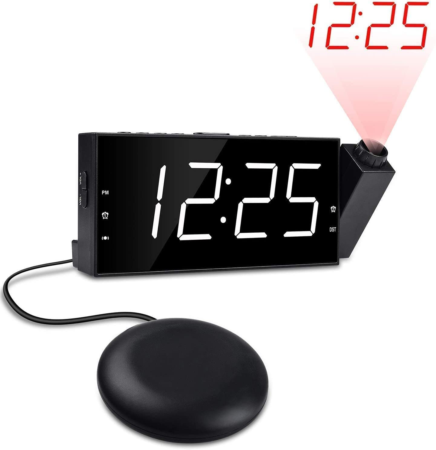 OnLyee Projection Digital Alarm Clock for Bedrooms Dual Loud Alarm Clock with Bed Shaker 7 Large Led Display with Dimmer USB Charging Port and Battery Backup for Heavy Sleepers Kids, Elders