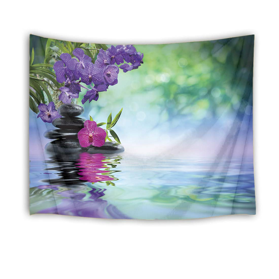 LB Zen Spa Tapestry Orchid Tapestry Wall Hanging Massage Stones Purple Flowers and Green Bamboo Forest in Water Wall Blanket for Bedroom,Living Room,Dorm Decor,60 W X 40 H inches