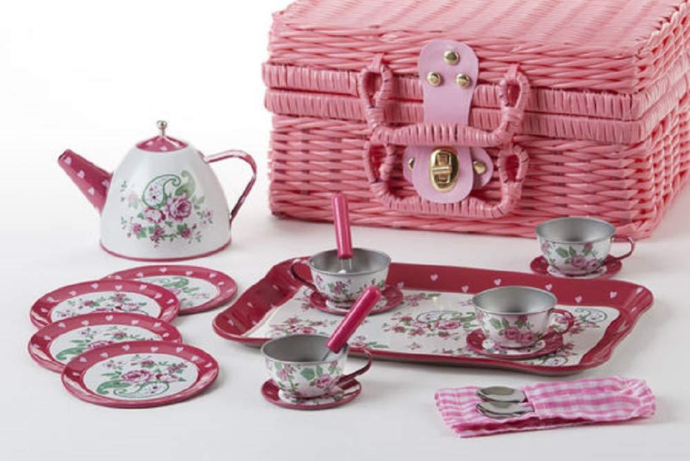 Delton 19-Piece Tin Paisley Tea Set in Basket 8002-6