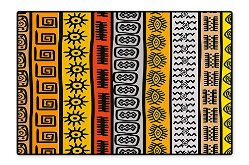 Kid Non Slip Rug Pad Ethnic African Motifs with Hand Drawn Borders Pattern Artwork Black Orange and Yellow Dual Surface 6'6