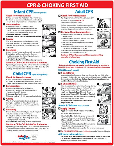 Infant CPR and Choking Magnetic Laminated Card - Baby/Infant Choking Sign by Safety Magnets - Child and Adult CPR Instructions - First Aid - Heimlich Maneuver Chart - 8.5 x 11 Inches