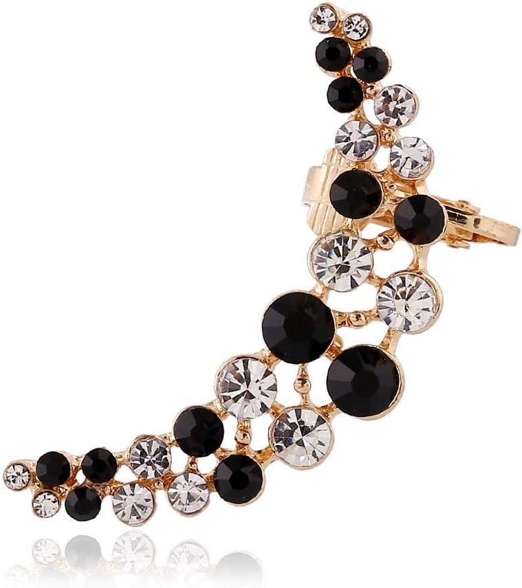 Arete Mujer Pendientes De Botón Pendientes De Diamantes De Imitación Completos Cristal Doble Pendientes Creativos De La Luna Joyas Para MujeresOreja Izquierda-Oro