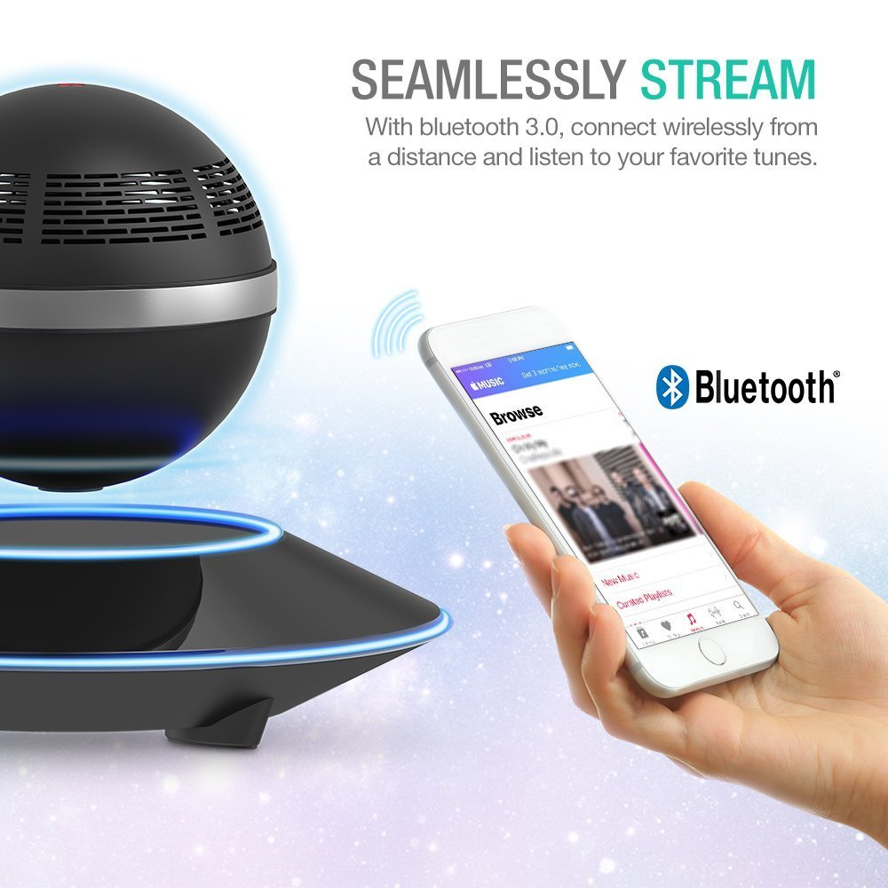 Levitating Bluetooth Speaker, ZVOLTZ Portable Floating Wireless Speaker with Bluetooth 4.0, 360 Degree Rotation, Built-in Microphone, One Touch Control for Bluetooth Connected Devices - Matte Black by ZVOLTZ (Image #2)