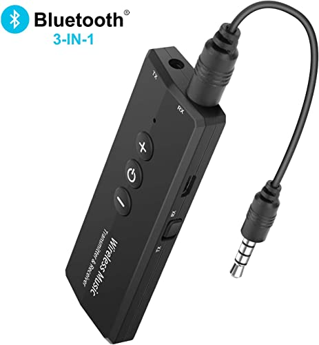 Bluetooth Transmitter and Receiver 3-in-1, Portable Wireless Bluetooth Adapter, Rechargeable Bluetooth Transmitter for TV, Bluetooth Audio Receiver for Car Home Stereo System