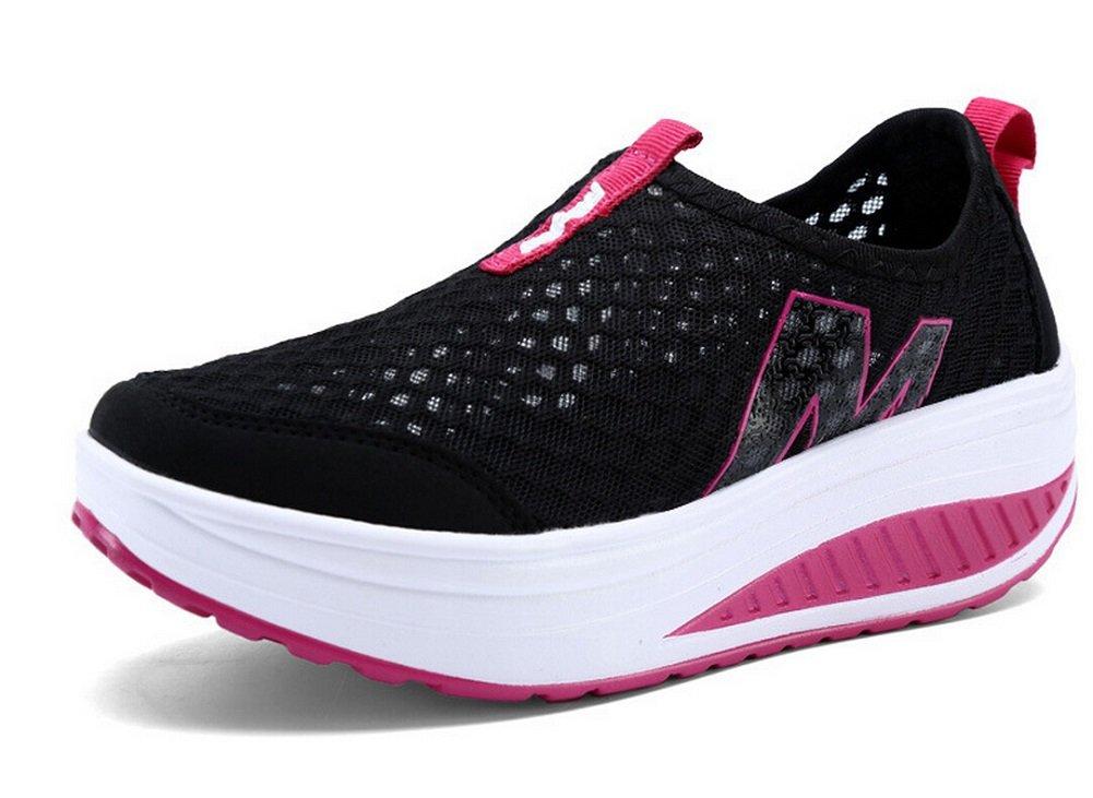 JiYe Hollow Mesh Women's Outdoor Slip-On Casual Shoes Walking Fashion Sneaker,Running Shoes 8US-Women|Black