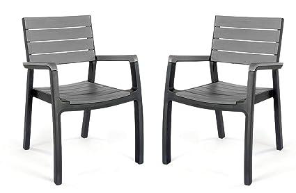 Amazonde Keter Kunststoffstühle Harmony 2er Set Kunststoffstühle