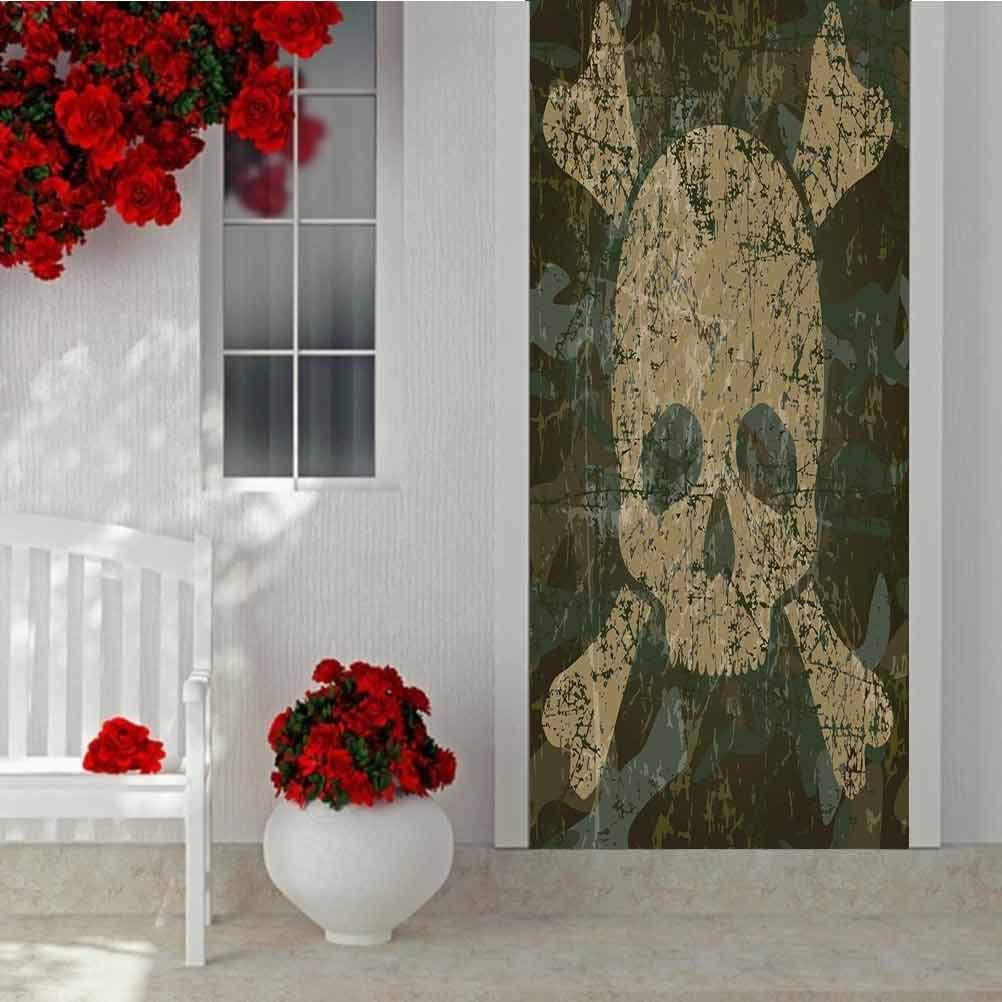3D Self-Adhesive Door Wrap Murals Wall Stickers, Camo Military Texture mit Skull und Crossbones Aged Rusty S, Zuhause Decoration Self-Adhesive Removable Kunst Door Decals W35.4 X L78.7 Inch