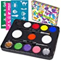 "Face Paint Kit with 30 Stencils, 9 Paints + 2 Glitters ""Original Buggly Kit"" By Bo Buggles Kids: Large 4 gram Professional Paints, 2 Brushes, 2 Sponges. Pro-Quality Non-Toxic Face Painting Palette"