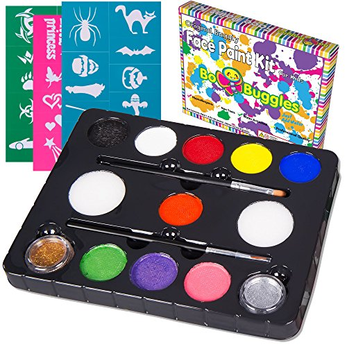 - Bo Buggles Face Paint Kit with 30 Stencils, 9 Paints + 2 Glitters Original Buggly Kit for Kids: Large 4 gram Professional Paints, 2 Brushes, 2 Sponges. Pro-Quality Non-Toxic Face Painting Palette
