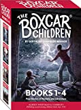 The paperback editions of The Boxcar Children Mysteries: #1, The Boxcar Children; #2, Surprise Island; #3, The Yellow House Mystery; and #4, Mystery Ranch are offered together in a cardboard case.