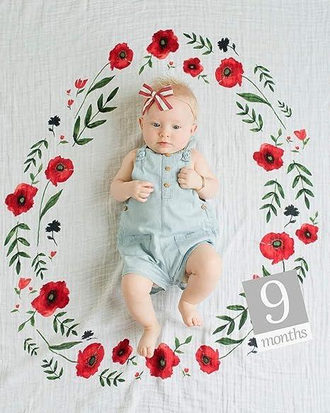 Poppy Baby Blanket Baby Girl Milestone Blanket Month Baby Blanket Red Poppy Wreath Baby Milestone Blanket Personalized Baby Blankie
