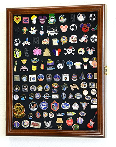 (Lapel Pin Pins Display Case Cabinet Wall Rack Holder Disney Hard Rock Military Pins (Walnut Finish))