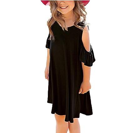 Niña Vestidos, Lananas Bebé Chicas Verano Fuera del Hombro O-Cuello Volantes Manga Corta Casual Negro Mini Camiseta Vestir Girls Dress: Amazon.es: Ropa y ...