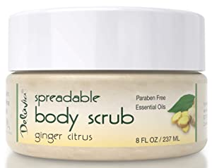 Dead Sea Salt Scrub, Exfoliating & Highly Moisturizing Face & Body Scrub. Infused With Sweet Almond, Citrus & Ginger Oils and Vitamin E. Turn Rough Dry Skin into Silky Smooth Glowing Skin. by Deluvia