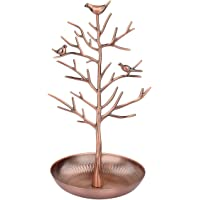 Jewelry Necklace Earring Display Holder Stand Organizer Birds Tree Tray Pad (Bronze)