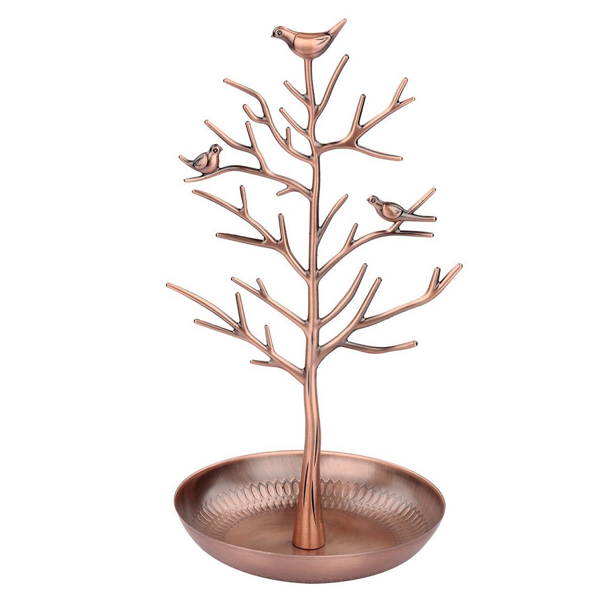 Tinksky Jewelry Tree Display Stand Holder Organizer Tower for Earring Necklace Ring, Rose Gold, 6 x 6 x 12 inch