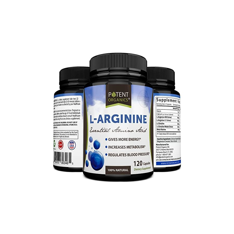 Most Powerful L Arginine 1340 mg Powder Capsules – Nitric Oxide Supplement Plus L Citrulline & Niacin for Energy Boost, Muscle Growth & Perfect Workout – Amino Acids For Men & Women