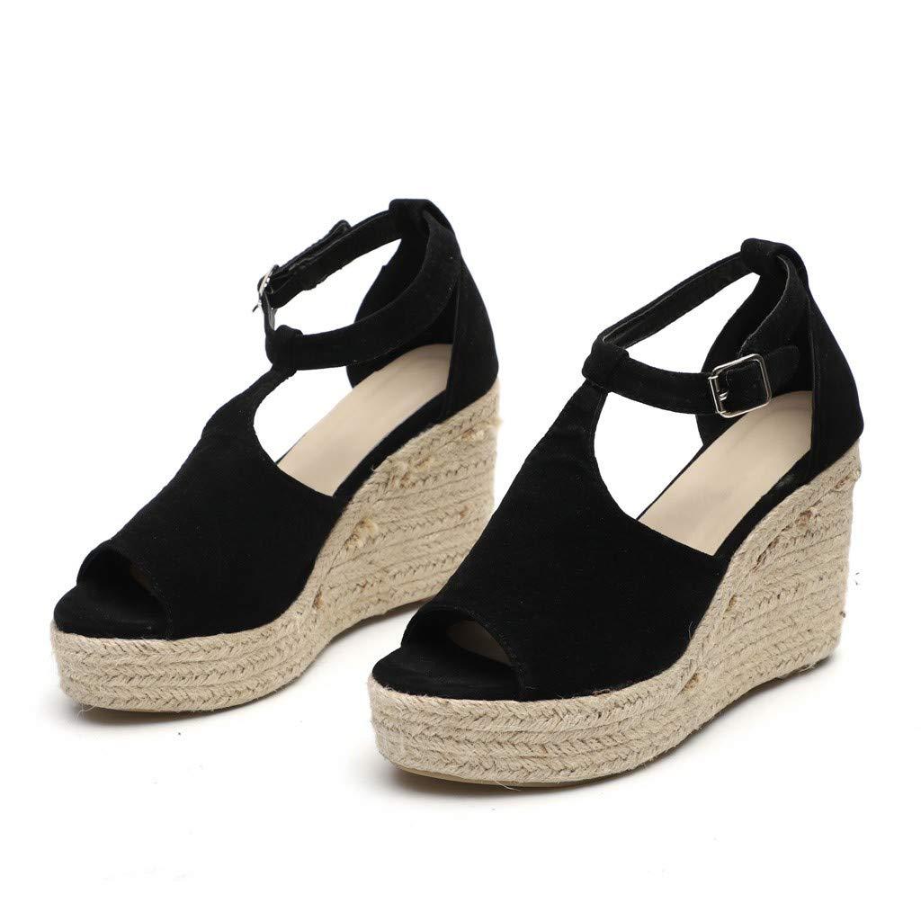 6d228625a46 Amazon.com  JJLIKER Women Chunky Platform Wedges Sandals Peep Toe Ankle  Buckle Strap Shoes Espadrille Non-Slip  Clothing