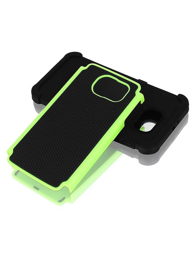 Amazon.com: eDealMax Caso de la contraportada del Protector Negro Verde w película protectora de limpiaparabrisas Para S6: Electronics